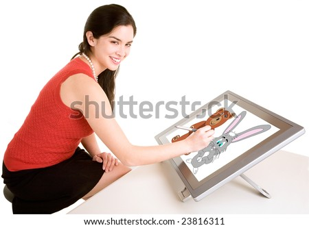 Woman Drawing on a Digital Tablet - stock photo