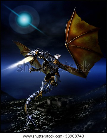 Woman dressed in white robes riding a armor clad flame breathing dragon to battle flying high in the night sky - stock photo