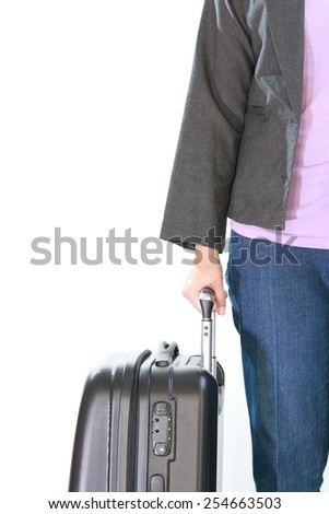Woman dressing suit clothes, holding a black suitcase, isolated on white background. - stock photo