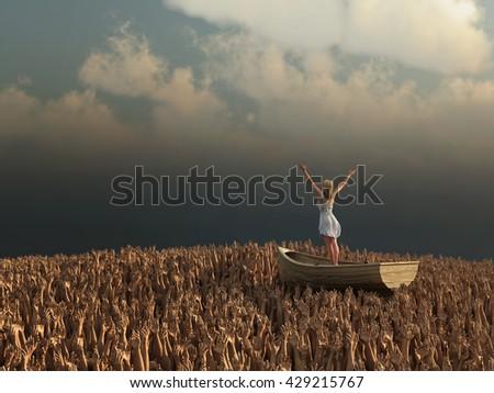 woman drifting through the sea of human hands, 3d illustration - stock photo