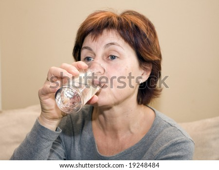 woman, drinking - stock photo