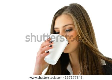Woman Drinking Beverage - stock photo