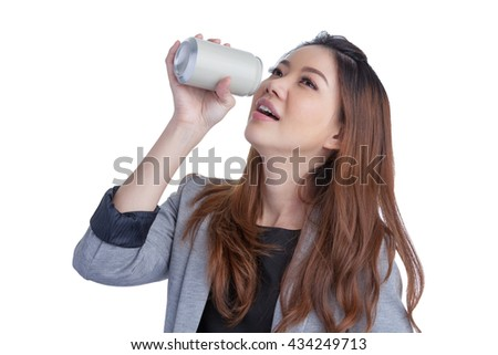 Woman drinking / showing blank can. Excited happy screaming girl holding energy drink or other drink. Asian / Caucasian female model on white background. have clipping path, - stock photo