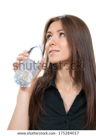 Woman drinking water bottle healthy lifestyle weight loss concept isolated on a white background - stock photo