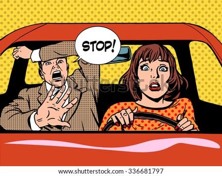 woman driver driving school panic calm retro style pop art. Car and transport - stock photo