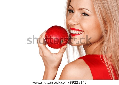 woman eat red apple on white background - stock photo