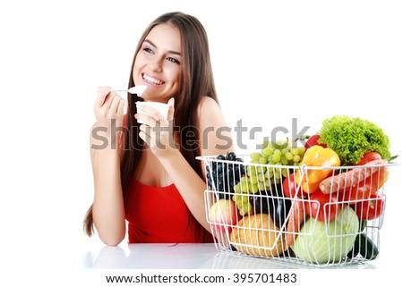 woman eat yogurt - stock photo