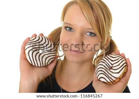 woman eating a delicious donut against a white background - stock photo