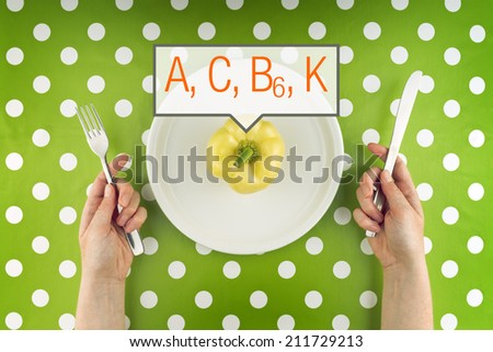 Woman eating fresh raw yellow pepper full of vitamins on a white plate, top view. - stock photo