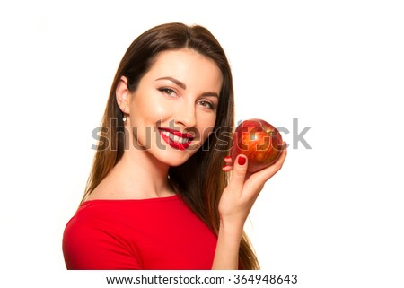Woman Eating Red Apple Fruit Smiling Isolated on White Posing - stock photo