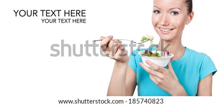 Woman eating vegetarian salad, diet concept  - stock photo