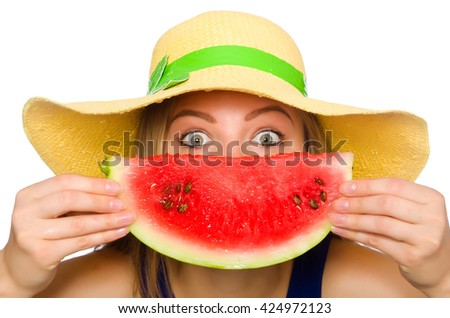 Woman eating watermelon isolated on white - stock photo