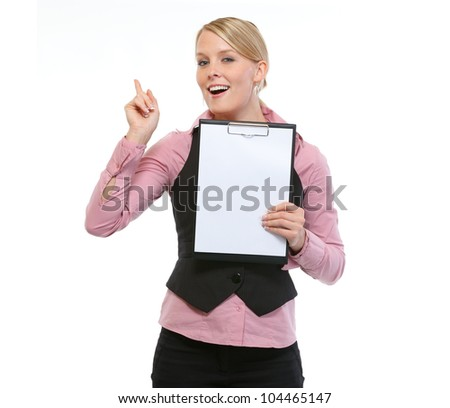 Woman employee showing blank clipboard - stock photo