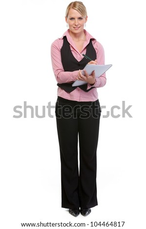 Woman employee writing in notepad - stock photo