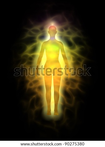 Woman energy body - aura - stock photo