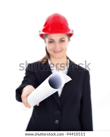 Woman engineer offering us the blueprints - stock photo