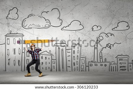 Woman engineer with huge pencil and construction sketches at background - stock photo