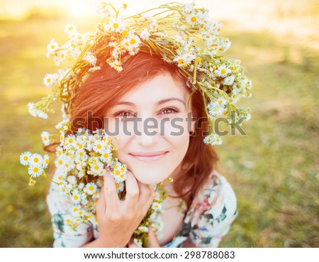 Woman enjoy summer in the field - stock photo