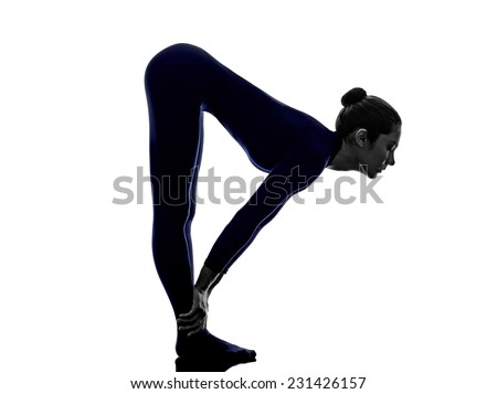 Bend pose yoga silhouette shadow white background stock photo