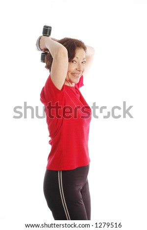 woman exercising  fit at fifty - stock photo