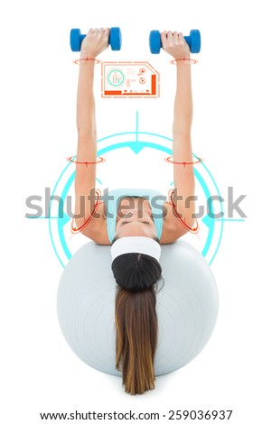 Woman exercising with dumbbells on fitness ball against fitness interface - stock photo