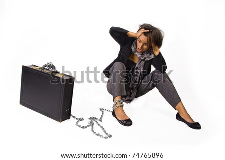 Woman experiencing physical difficulty - stock photo