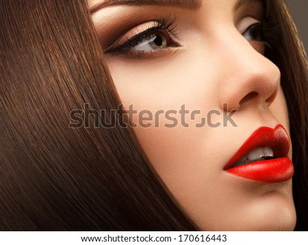 Woman Eye with Beautiful Makeup. Red Lips. High quality image. - stock photo