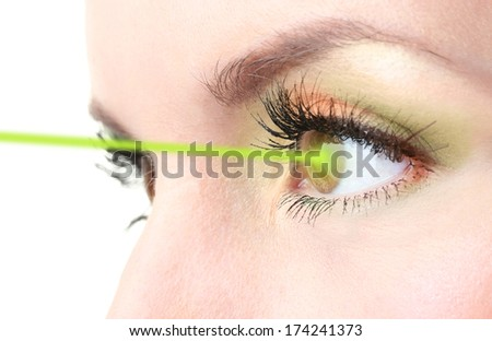 Woman eye with laser correction - stock photo