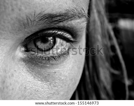 Woman eyes close-up - stock photo