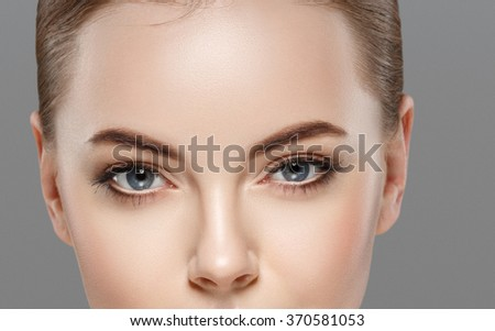 Woman eyes nose face close-up studio  - stock photo