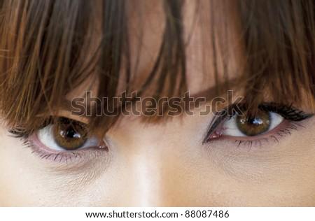 Woman eyes with make-up macro shot - stock photo