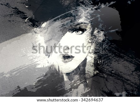 Woman face. Black and white. Abstract watercolor illustration - stock photo