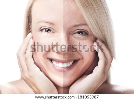 Woman face divided - before retouch and after retouch  - stock photo