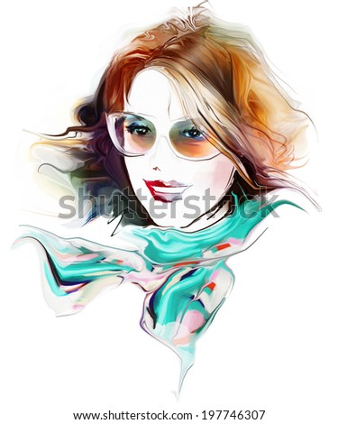 Woman face. Fashion illustration - stock photo