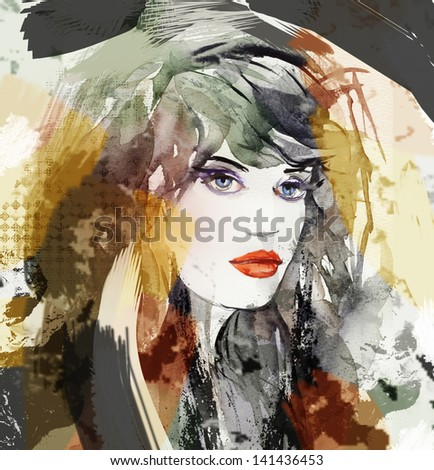 Woman face. Hand painted illustration. - stock photo