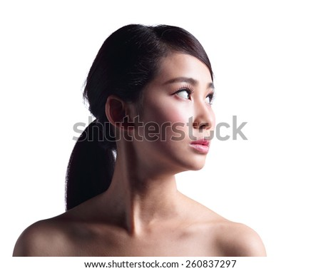 woman face skin problem - unhappy woman profile isolated on white background. asian Beauty - stock photo