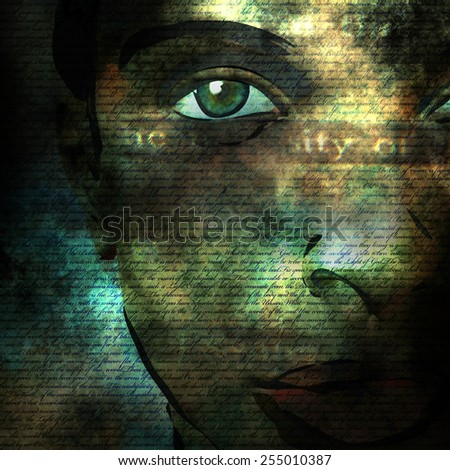 Woman face with text - stock photo