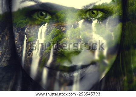 Woman Falls. Goddess of rivers and lakes, waterfalls flowing into the mountains. double Exposure - stock photo