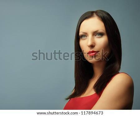 Woman fashion model with brown hair - stock photo