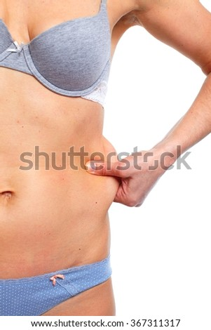 Woman fat belly. - stock photo