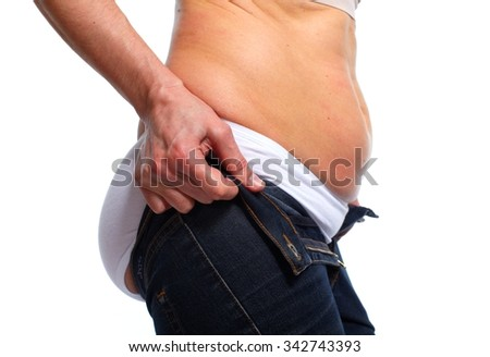 Woman fat belly. Overweight and weight loss concept. - stock photo