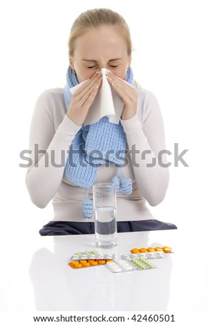 Woman feeling sick. Isolated over white background. - stock photo
