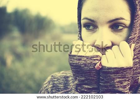 Woman feeling so alone - stock photo
