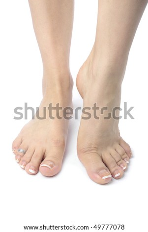 Woman  feet  isolated over white background - stock photo