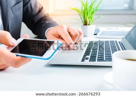 Woman. Female hands on keyboard - stock photo