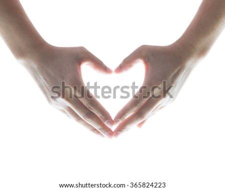 Woman female human person hands in heart shaped isolated on white background (clipping path) showing love friendship kindness generosity happiness: Universal sign language concept/ campaign/ idea - stock photo