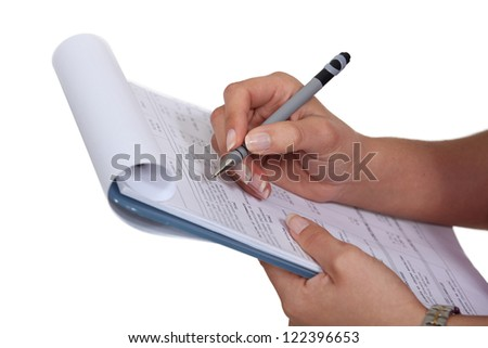 woman filling a form - stock photo