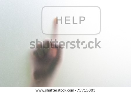 woman finger push Help button - stock photo