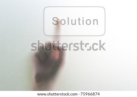 woman finger push Solution button - stock photo