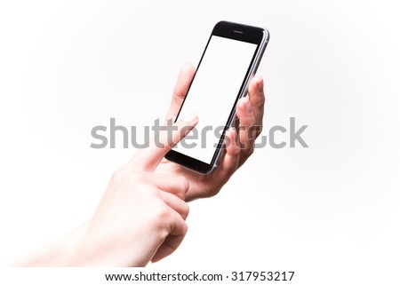 Woman finger touching blank screen of drawn smartphone - stock photo